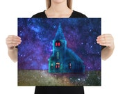 Church with Stars at Night print wall art, watercolor landscape, poster, home décor