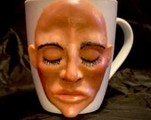 Sleeping beauty|Ceramic mug sculpture one of a kind art for home decor, collectable Unique artwork made by hand
