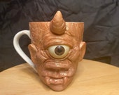 Horned Cyclops | Ugly mug sculpture | Ceramic mug one of a kind art for home decor | collectable Unique artwork made by hand Cyclops Oddity