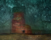 Art print original work, Grain Elevator and Stars - print on mat paper