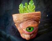 Smirking Joe  Cyclops | terra-cotta medium size planter hand made unique sculpture 11cm pot