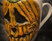 Uglymug- lonely little Jack-o'-lantern - each sculpture is a hand made one of a kind coffee Mug.