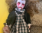 Porcelain doll | Crying vampire| holding  a severed head | scary doll  | Halloween decoration | gothic art oddity gift
