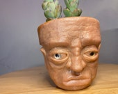 "Sad guy, terracotta pot |medium size planter|hand made unique sculpture ""The sad old  man "" 9cm pot"