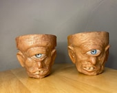 New terracotta flower pot cyclops twins two 9cm size planters hand made unique sculptures- made to order