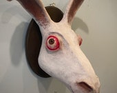 """Mounted jack rabbit head sculpture, Acrylic paint, """"Jack rabbit """" scary oddity made to order 22cm"""