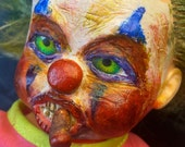 Scary clown doll with cigar | ooak |  Halloween decoration more pictures to come | 36 cm