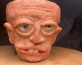"Terra-cotta planter hand made unique face sculpture named "" bob"" 10cm pot great gift idea"