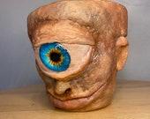 Old blue eye Cyclops | terracotta pot medium size planter hand made unique sculptures 11cm pot made to order
