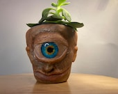Old blue eye Cyclops | terracotta pot medium size planter hand made unique sculptures pick from 9cm 11cm 17cm pots made to order