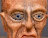 "Terra-cotta medium size planter hand made unique sculpture "" sad old  man "" 10cm pot"