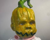 Scary Baby doll art. Pumpkin head. Made to order I've just finished my second pumpkin head baby and I'm loving it!