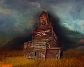 Prairie grain elevator at night Fine Art print