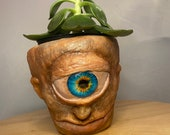 Old blue eye Cyclops | terracotta pot medium size planter hand made unique sculpture 10cm pot