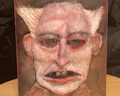 Scary Cursed  old man portrait  panting/ sculpture. Relief on wood oddity | 5x7 Halloween art