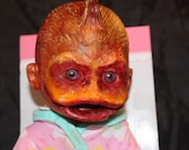 Duck face Scary Baby doll ridding a unicorn   hand made ooak Haunted dolls