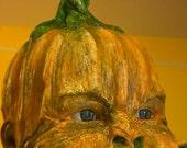 Scary Baby doll art. Pumpkin head. Made to order   halloween decor