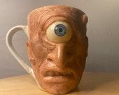 Horrified Cyclops   Uglymug sculpture   Ceramic mug one of a kind art for home decor   made by hand