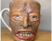 uglymug creepy face   Ceramic mug sculpture one of a kind art for home decor, collectable Unique artwork made by hand   halloween style