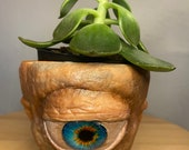 Old blue eye Cyclops   terracotta pot medium size planter hand made unique sculptures pick from 9cm 11cm 17cm pots made to order