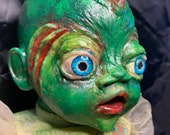 Ooak Scary horror doll   creepy cute fish baby made to order halloween decor