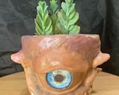 Alien sculpture on terracotta planter   9cm 11cm 17cm 20cm   Happy little space creature