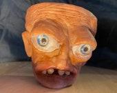"terracotta planter hand made unique face sculpture "" the troll man "" pick from 9cm 11cm 17cm pots"