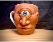 Cyclops   Ugly mug sculpture   Ceramic mug one of a kind art for home decor   collectable Unique artwork made by hand Cyclops Oddity