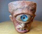 Cyclops terracotta medium size planter hand made unique sculpture, pick from 9cm 11cm 17cm pots