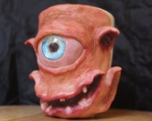 Uglymug   Shy space creature   Alien, UFO   sculpture   Ceramic mug one of a kind art for home decor   made by hand