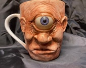 Ugly Ceramic mug sculpture   one of a kind art for home decor   collectable Unique artwork made by hand Cyclops Oddity