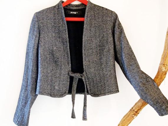Vintage Unisex marbled Grey Pure Wool blazer.  siz