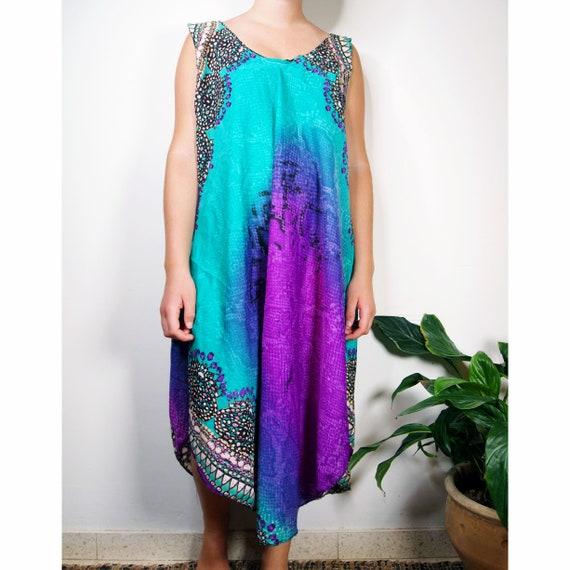 Vintage Tye Dye Rainbow dress/ Vintage Rainbow Col