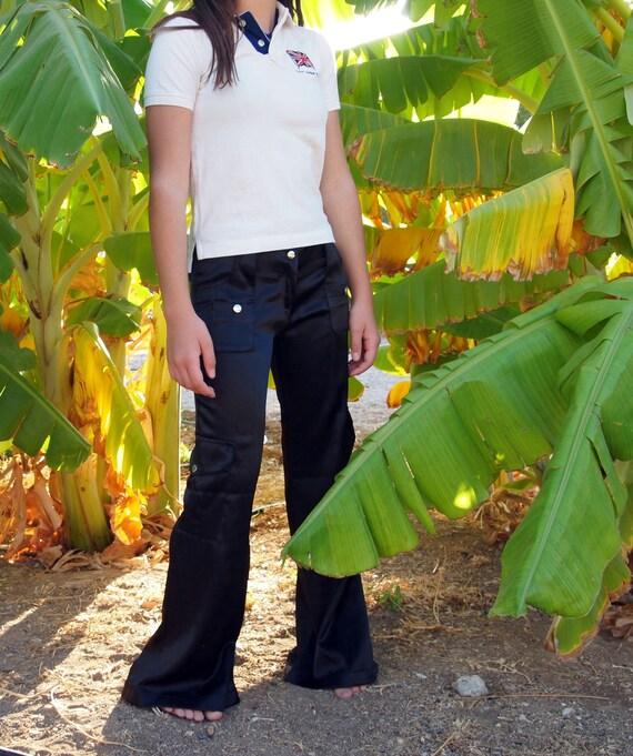 Stunning paddlephone black satin pants .Low cut.