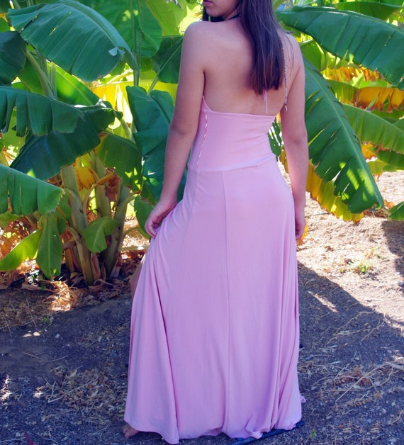 Pinkish long collard deep V  open back gown dress.
