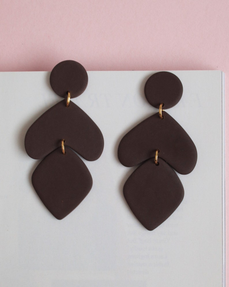 Classy style polymer clay earrings Natural color earrings Earth tones earrings Fashion drop earring Minimal style earrings Handmade earrings