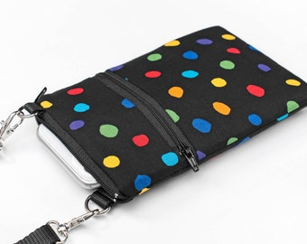Polka Dot Black iPhone Bag, Spotted Phone Purse, Padded Crossbody Pouch, Small Travel Bags for Passport - colourful polka dots in black