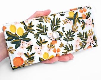 Lemons Bifold Wallet, Fruit Fabric Long Wallet, Women's Handmade Phone Organizer - citrus fruits with leaves