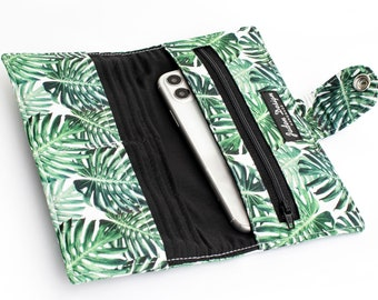 Monstera Leaf Bifold Wallet, Foliage Fabric iPhone Wallet Case, Women's Green Phone Organizer - green monstera leaves