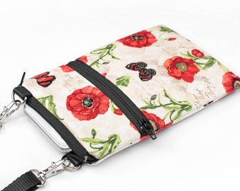 Poppy Fabric Phone Bag, Women's Floral iPhone Bag, Small Padded Travel Bag- red poppies and butterflies