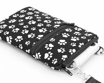 Cat Paws iPhone Bag, Dog Paw Print Phone Bag, Small Padded Crossbody Bag - white paw print in black