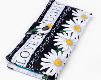 Daisy Bifold Wallet, Fabric Long Wallet,Floral Wallet, Padded Phone Organizer Wallet - Daisies and jars floral print