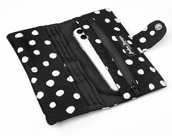 Polka Dot Fabric Long Wallet, Padded Phone Wallet Case, Handmade Phone Organizer for Women -  black and white polka dot