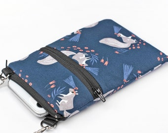 Woodland iPhone Bag, Cute Animal Phone Bag, Small Padded Crossbody Travel Bag - quirky squirrels in blue