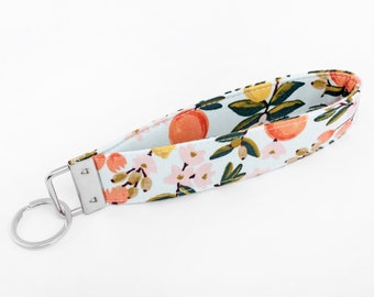 Citrus Keychain, Key Lanyard, Fabric Wristlet Strap for Women - citrus fruits with leaves