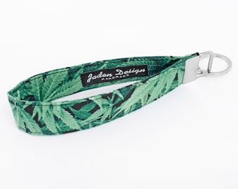 Cannabis Print Keychain, Green Key Lanyard, Fabric Wristlet Strap - marijuana leaf print