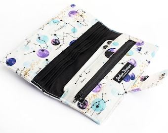 Zodic fabric Wallet, Women's Galaxy Print Phone Wallet, Vegan Bifold Card Organizer - purple and white constellations
