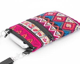Tribal Fabric iPhone Bag, Boho Print Phone Bag, Small Padded Travel Bag - bohemian red stripe print