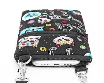 Quirky Cat Phone Bag, Smartphone Travel Bag, Small Padded Crossbody Bag - cat skeletons and aquarium in black