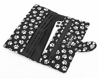 Cat Paw Print  Wallet, Dog Fabric Long Wallet, Handmade iPhone Organizer - white paw print in black
